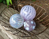 "Trois Violet Floats, Set of Three Floats, 2.5"" to 4.5"" Decorative Purple Blown Glass Balls, Design by Avalon Glassworks"