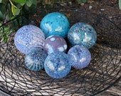 "Blues & Purples, Set of Seven Blown Glass Floats, 2.5""-4.5"", Decorative Nautical Balls For Home or Garden, by Avalon Glassworks"