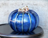 "Big Brilliant Blue Glass Pumpkin, 6"" Blown Glass with Metallic Stem, Large Sized Autumn Gourd, By Avalon Glassworks"