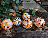 "Orange, Black & White Floats, Set of Five, 2.5""-2.75"" Decorative Glass Balls, Nautical Pond Spheres, Garden Globes By Avalon Glassworks"