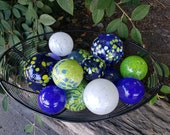 Bright Green and Blue Floats, Set of 12, Blown Glass Decorative Balls Hand Blown by Avalon Glassworks