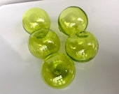 "Citron Green Glass Balls, Set of Five Floats, 2.5""-2.75"" Hand Blown Garden Outdoor Spheres, Bright Transparent Lime Green, Avalon Glassworks"