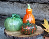 Green and Orange Glass Gourd Set of 3, with Tall Orange Squash, Green Pumpkin, Multi-Colored Pattypan Squash, By Avalon Glassworks