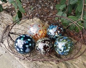 "Red, Gold, Green and Blue, Speckled, Set of Five Floats, 2.5"" Decorative Blown Glass Balls, Garden Decoration, by Avalon Glassworks"