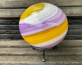 "Purple Yellow Swirl Garden Ball, 8"" Blown Glass Outdoor Art Sphere Large Decorative Fishing Float Gazing Ball, Iron Stand, Avalon Glassworks"