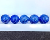 Blue Stripe Floats, Set of 5 Hand Blown Glass Design Balls, Decorative Spheres, Transparent Sapphire, White Spot Pattern, Avalon Glassworks