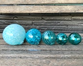 "Turquoise & Aqua Glass Balls, Set of Five, 2.75""-5"" Decorative Spheres, Blue Blown Garden Art Balls, Nautical Pond Floats, Avalon Glassworks"