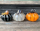 Halloween Pumpkins, Set of Three Blown Glass Gourds in Orange, Black, Gray with Ribs & Curly Stems, Fall or Autumn Decor, Avalon Glassworks