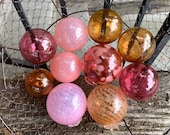 Tickled Pink, Set of 10 Floats, Decorative Glass Balls, Nautical Pond Spheres, Hand Blown Peach Garden Art Design Globes, Avalon Glassworks