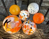Koi Pond Floats, Set of 6 Decorative Hand Blown Glass Balls, Orange White Black Gold, Outdoor Floating Garden Art Spheres, Avalon Glassworks