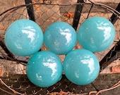 "Turquoise Blown Glass Balls, Set of 5, Opaque Light Blue 2.75"" Pond Floats, Garden Decoration, Basket Filler, Yard Art, By Avalon Glassworks"