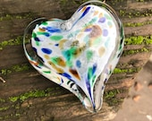 "Multi Color on White Spotted Glass Heart, Solid Heart-Shaped 3"" Paperweight Sculpture, Appreciation Gift, By Avalon Glassworks"