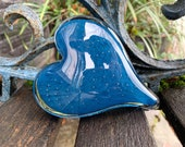 """Slate Blue Glass Bubble Heart, Solid 4"""" Paperweight Sculpture, Teal Gray Navy, Appreciation Anniversary Wedding Love Gift, Avalon Glassworks"""