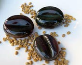 Glass Coffee Beans, Set of Three, Blown Glass Paperweights, Sculptures, By Avalon Glassworks
