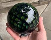 "Dark Blue Scale Pattern Glass Float, 4"" Decorative Hand Blown Ball Navy Amber Green Fishnet Pattern Outdoor Garden Sphere, Avalon Glassworks"