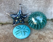 Blue Glass Sea Life and Float Set, Three Aquatic Blown and Solid Sculptures, Sea Star, Sand Dollar, Striped Fishing Float, Avalon Glassworks