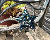 "Blue Cosmic Starfish, Solid Glass 5"" Sea Star Sculpture, Decorative Paperweight, Dark Blue with Multi Color Speckling By Avalon Glassworks"