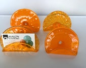 """Orange Glass Business Card Holders, Set of Four 4"""" Hand Blown Glass Desk Accessories Office Lobby Display Executive Gifts, Avalon Glassworks"""