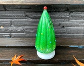 "Holiday Tree Sculpture, 6"" Blown Glass Christmas Decoration for Mantel or Tabletop, Green, White, Multi-Colored Dots, By Avalon Glassworks"