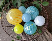 "Sunny Day Glass Floats, Set of Seven 2.5"" to 4.5"" Blown Glass Balls in Blue, Yellow, Orange & White, Decorative Spheres for Home or Garden"