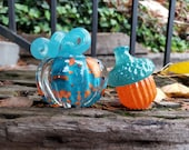 "Turquoise and Orange Mini Pumpkin and Acorn Combo, Solid Glass Paperweights, 3"" Decorative Squash and Acorn Sculptures, By Avalon Glassworks"