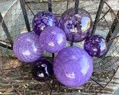 "It's a Purple Thing, Set of 7 Floats 2.75""-4.5"" Blown Glass Balls, Transparent & Opaque Shades of Purple, Garden Pond Art, Avalon Glassworks"