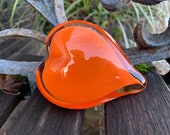 "Orange Glass Heart, Solid Heart-Shaped 3.5"" Paperweight Sculpture, Valentine's Day, Appreciation, Anniversary, Love Gift, Avalon Glassworks"