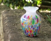 "Rainbow Spot Vase, 4"" Blown Glass Bud Vase Perfect for Mother's Day, By Avalon Glassworks"