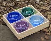 "Summer Special: Set of Four Mini Dishes in Wood Tray, Blown Glass 3"" Salt Cellars, Dipping Sauce or Pinch Bowls By Avalon Glassworks"