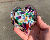 """Multi Color Rainbow Heart, Solid Glass Heart-Shaped 3"""" Paperweight Sculpture, Valentine Wedding Anniversary Romantic Gift, Avalon Glassworks"""