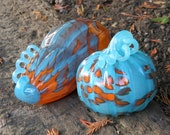Pumpkin & Gourd Set, Two Piece Turquoise and Orange Blown Glass Squashes with Curly Stems By Avalon Glassworks