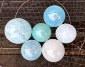 "Airy Blue and White, Blown Glass Balls, Set of Six Translucent 2.5""-3.25"" Pond Floats, Garden Art Decoration Basket Filler Avalon Glassworks"