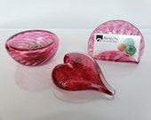 Pink Glass Desk Accessory Set Including Heart Paperweight, Business Card Holder, and Dish in Transparent Cranberry Pink By Avalon Glassworks
