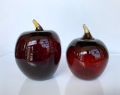 "Wicked Dark Glass Apples, Set of Two Hand Blown 4.5""-5"" Sculptures, Dark Red with Brown Stems, Decor, Washington Apples, Avalon Glassworks"