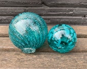 "Aqua Blue Spots & Stripes, Set of Two Floats, 2.5"" and 3.5"" Decorative Blown Glass Balls, Outdoor Floating Garden Spheres, Avalon Glassworks"