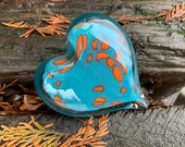 "Turquoise and Orange Glass Heart, Solid Heart-Shaped 4"" Paperweight Sculpture, Valentine, Anniversary, Appreciation Gift, Avalon Glassworks"
