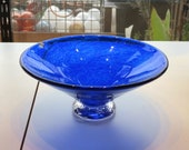 """Cobalt Blue Blown Glass Dish, 6.5"""" Wide """"V""""-Shaped, Footed Decorative Bowl, By Avalon Glassworks"""