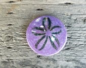 "Purple Sand Dollar, Solid Glass 3"" Paperweight, Table Decoration, Sea Shell Sculpture, Hostess Gift, By Avalon Glassworks"