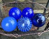 "Baby Blues, Set of Five Small Floats, 2.75"" Decorative Art Glass Balls, Light & Dark Blue Nautical Pond Spheres Garden Art Avalon Glassworks"