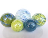 "Greens and Blues, Blown Glass Balls, Set of Five, 2.5""-4"" Garden Spheres, Decorative Floats for Outdoors or Indoors, By Avalon Glassworks"