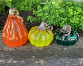 Orange, Yellow and Teal, Set of Three Blown Glass Pumpkins with Metallic Curly Stems and Ribs, Colorful Autumn Decor, By Avalon Glassworks