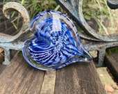 "Blue & White Glass Heart, Solid Heart-Shape 3"" Paperweight Art Sculpture, Valentine's Day Appreciation Anniversary Gift, Avalon Glassworks"