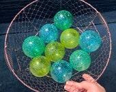 Ocean Colors Small Glass Floats, Green Blue Spotted Garden Art Balls, Set of 9 Hand Blown Interior Decor Design Spheres, Avalon Glassworks