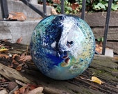 "Luna Vase, Earth Inspired Sphere Vase, 6"" Blown Glass Art Vase, Globe Vase Featuring Swirling Clouds, By Avalon Glassworks"