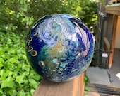 "Luna Vase, Earth Inspired Sphere Vase, 6"" Blown Glass Art Vase, Globe Vase Featuring Swirling Clouds, Studio Art Glass By Avalon Glassworks"