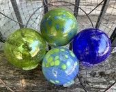 "Blue & Green Hand Blown Glass Floats, Set of Four 3.5"" Glass Art Spheres, Decorative Balls, Garden Decor, Interior Design, Avalon Glassworks"