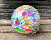 "Rainbow Float, 4.5"" Blown Glass Pond Ball with Multi-Color Spot Design, Purple, Pink, Blue, Green, Amber, Garden Sphere By Avalon Glassworks"