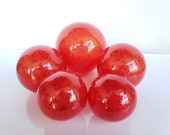 "Bright Red Glass Fishing Floats, Set of Five, 2.5""-4.5"" Garden Balls, Outdoor Pond Spheres, Cherry Red, Hand Blown By Avalon Glassworks"