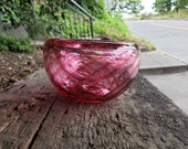 """Pink Optic Twist Blown Glass Bowl, 4.5"""" Double-Wall Style Candy Dish, Handmade in Seattle by Avalon Glassworks"""