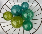 "Green & Blue Toned Spotted Floats, Set of Six, 2.5"" to 3.5"" Blown Glass Decorative Garden Balls by Avalon Glassworks for Outdoors or Indoors"